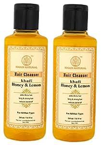 Khadi Natural Herbal Shampoo/Cleanser with Honey and Lemon Juice, 210ml (Pack of 2)