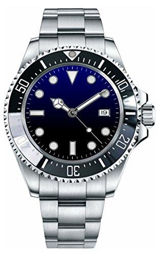 PARNIS 2033 Black & Blue sportliche XL Herren-Automatik-Uhr 44mm Markenuhrwerk Flip-Lock Edelstahl-Armband 5BAR wasserdicht DIN 8310