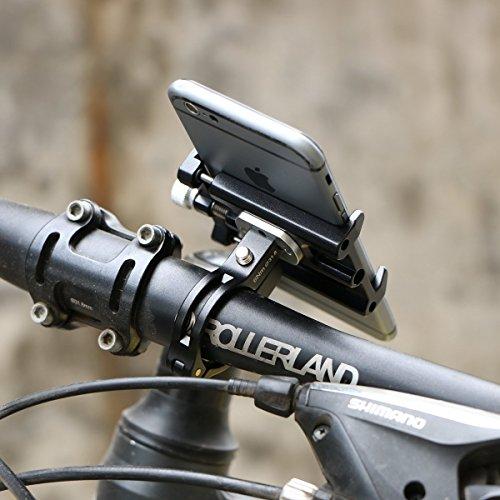 Alloy Fahrrad Handyhalter Halterung, SGODDE Fahrradhalterung Stander Lenkerhalter Universal Fahrradhalter für Telefone und Geräte mit einem 50-100mm weit Bildschirm, Handyhalter Fahrrad, Rennrad sowie Schwarz