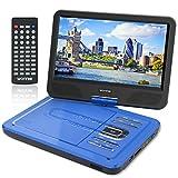 WONNIE 10,5' Lecteur DVD portable avec un écran rotatif 270°, Carte SD et prise USB avec charge directe Formats / RMVB / AVI / MP3 / JPEG, Parfait pour Enfants (Bleu)
