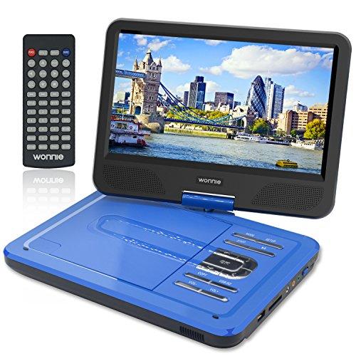 """WONNIE 10,5"""" Lecteur DVD portable avec un écran rotatif 270°, Carte SD et prise USB avec charge directe Formats / RMVB / AVI / MP3 / JPEG, Parfait pour Enfants (Bleu)"""
