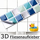 7er Set 25,3 x 3,7 cm blau türkis silber Fliesenaufkleber Mosaik 3D-Effekt Aufkleber Küche Bad Fliesendekor selbstklebend Grandora W5189