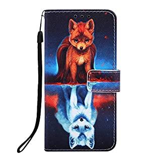Miagon for Samsung Galaxy A50 Wallet Case,PU Leather Folio Flip Cover with Stand Card Slots Magnetic Closure,Fox