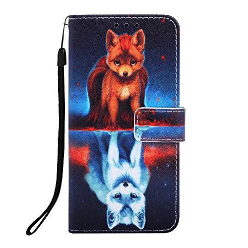 Miagon für iPhone 6S / 6 Leder Hülle,Klapphülle mit Kartenfach Brieftasche Lederhülle Stossfest Handy Hülle Klappbar,Fuchs Fashion Trilby Hut