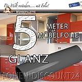 Folien-Dicount24 (EUR 5,69 / Quadratmeter) Küchenfolie Möbelfolie Basalt Grey Hochglanz 3112 Dunkel Grau PREIS TIP ! (5 Meter x 61 Zentimeter)