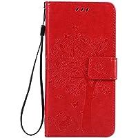 Cozy Hut [New Style] Sony Xperia M5 Hülle in Katze und Baum muster seitlich aufklappbare Schutzhülle / integrierte Kartenfächer / Klapptasche Etui Wallet Stil Handy Tasche - Rote