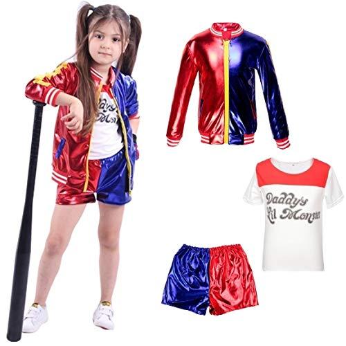 Harley Quinn Enfants vêtements Suicide Squad Manteau + Short + T-Shirt Set Suit Red 10-12 Years(140cm-150cm Enfant)
