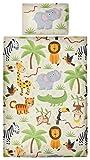 Aminata Kids Kinder Bettwäsche 100 x 135 cm Zoo Tier e Safari Waldtier e Dschungel Afrika Baby Bettwäsche 100 % Baumwolle Renforce beige bunt Junge n und Mädchen
