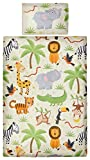 Aminata Kids Kinder-Bettwäsche 100-x-135 cm Zoo-Tier-e Safari Waldtier-e Dschungel Afrika...