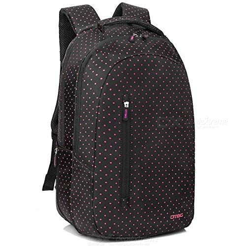 """DTBG Laptop Backpack 15.6"""" Water Resistant - D8217W (Black with Pink Dots)"""