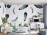 BHXINGMU Benutzerdefinierte Fototapete Europäische Stil Feder Wohnzimmer Tv Sofa Hintergrund 320Cm(H)×450Cm(W)
