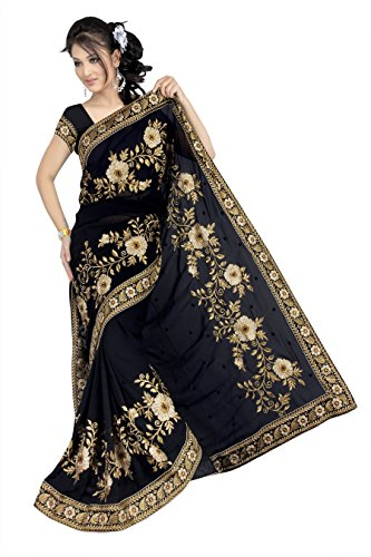 Drapme Bollywood Style Deepika Padukone Black Georgette Saree  available at amazon for Rs.1495