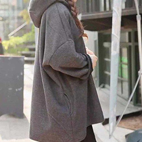 Femmes Dames Chandail ¨¤ Capuche Manteau Lache Manteau Avec Poches Mince Hiver Automne Solide Couleur Grey
