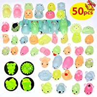 Yetech 50pcs Glitter Kawaii Squishies Mochi Squishy Toys Animals Stress Reliever Toys Party Favors for Girls & Boys