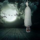 TUPARKA 40 Pulgadas Sonando Cocoon Corpse Momia Fiesta de Halloween Juguetes para la decoración de Halloween, Colgante animado, fantasma esqueleto parlante con ojos rojos que brillan intensamente para Halloween Casa embrujada Decoración de accesorios
