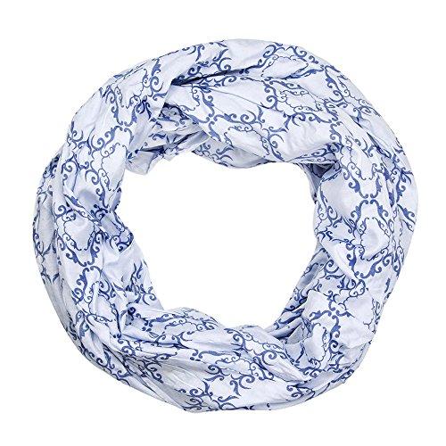 MANUMAR Loop Ornamente weiß blau Schal Rundschal Schlauchschal Damenschal Endlosschal Tuch Scarf Weicher Schal Kinder Geschenk Freundin Damen