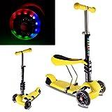Kinderroller mit LED Blinken Räder-HEYSAMO 3 in 1 Dreiradscooter Sitzscooter für Kinder ab 1,5 Jahre bis 50kg,HS01,2 Jahre Garantie(Gelb).