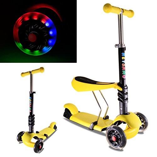 HEYSAMO Kinderroller mit LED Blinken Räder 3 in 1 Dreiradscooter Sitzscooter für Kinder ab 1,5 Jahre bis 50kg,HS01,2 Jahre Garantie(Gelb).