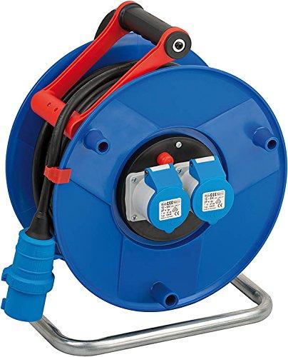 Brennenstuhl Garant CEE 2 IP44 Industrie-/Baustellen-Kabeltrommel (25m - Spezialkunststoff, ständiger Einsatz im Außenbereich, Made In Germany) blau