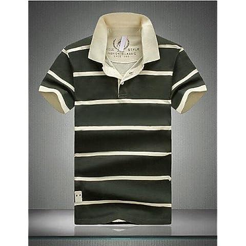ZY/ Polos ( Blu/Verde , Cotone ) - MEN - Maniche corte - da Casual - A righe , army green-m , army green-m