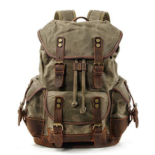 BYEON Mens Waxed Canvas Rucksack Leder Rucksack für Männer Wax Leather Rucksäcke Travel Vintage Bookbag mit Laptopfach Rustikal Large Waterproof Army Green -