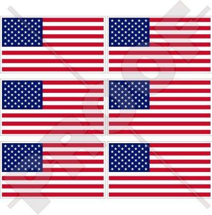 StickersWorld Handy-Aufkleber, Motiv: USA-Flagge; 40mm, Vinyl, 6 Stück