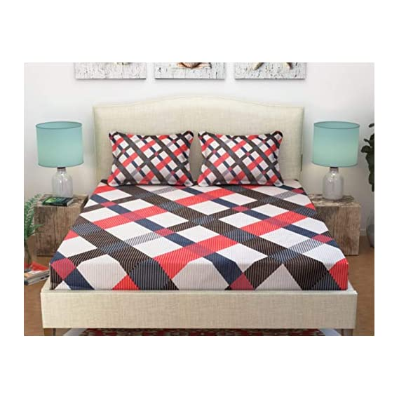 Ab Home Decor Cotton Elastic Fitted Bedsheet for Queen Size/Double Bed with 2 Pillow Covers