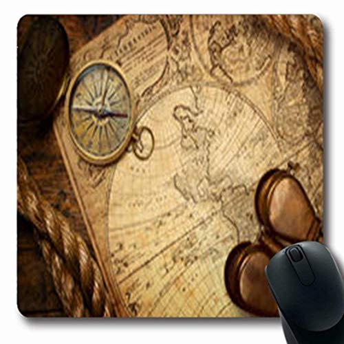 Luancrop Mousepads Verkohltes altes Kompass-Seil auf Nordweinlese-Karten-Wissenschafts-Atlas-Kunst-länglichem Spiel Mousepad rutschfeste Gummimatte
