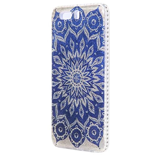 Bling Sparkle Glitter Rhinestone Resin Diamant Schützende Rückseite Cover Case Soft TPU Shell Stoßfänger [Shock Absorbtion] für Huawei P10 Plus ( Color : E ) E