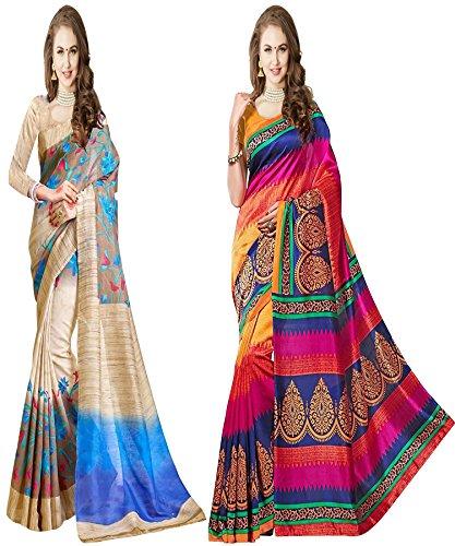 Glory Sarees Women's Bhagalpuri Art Silk Saree Combo Pack of 2 (gloryart4n1_blue_pink)