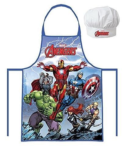 Marvel Avengers - Hulk, Catp.America, Thor, Iron Man (102050) Enfants Jeu de Chef Cuisinier Tablier de cuisine et Toque de chef, 2