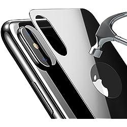 Bovon Protector trasero iPhone X, [9H dureza] [Cobertura completa en 3D] [Prueba de aranazos] [Reemplazo de carcasas] Protector pantalla cristal templado trasero para iPhone X / iPhone 10 (Negro)