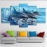 hhlwl Dipinto a spruzzo della casa della tela di canapa Pittura animale moderna del muro del delfino delle stampe di arte di schiocco Moderna appendere le immagini-20x35/45/55cm-frame