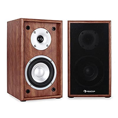 Auna Line 300-SF-WN 2-Way Passive Bookshelf Speakers Pair 150W Walnut from AUNA