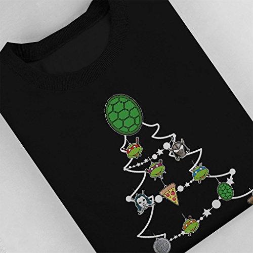 Teenage Mutant Ninja Turtles Christmas Tree Baubles Womens Sweatshirt Black