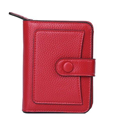 Vodabang Portemonnaie Damen Klein Portmonee Damen Leder mit Reißverschluss Münze Brieftasche Kurzer Geldbörse Damen Geldbeutel (Red) (Damen-scheckheft Brieftasche)