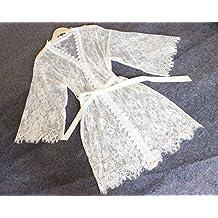 Bata de encaje blanco Mujeres Kimono Bata-Bata nupcial Regalo nupcial Regalo de dama de