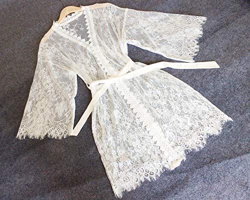 Bata encaje blanco Mujeres Kimono Bata-Bata nupcial