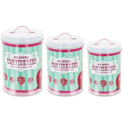 Promobo - Set Lot De 3 Boîte de Rangement Café Thé Bonbons Sucrerie Design Gourmand Vintage Pomme D'amour