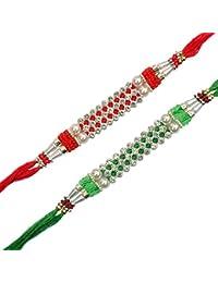 Red Green Diamond 2 Rakhi Set Rakhi -Bhabhi Rakhi - Rakhi Pair - Pair Rakhi - Designer Rakhi - Kids Rakhi Rakhisha...