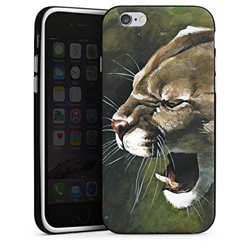 Apple iPhone 4 Housse Étui Silicone Coque Protection Puma Chat Dessin Housse en silicone noir / blanc