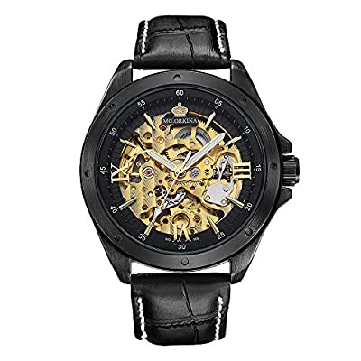 Relojes Automáticos para Hombres Cinturón De Cuero Negro Caja De Acero Inoxidable Esqueleto Dorado Reloj Masculino Reloj Mecánico