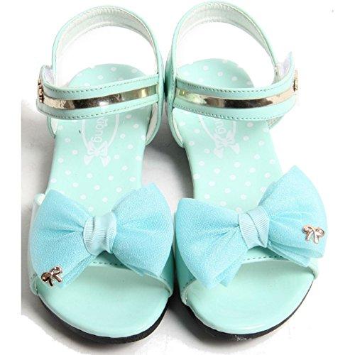 Enfants Filles Sangle Velcro orteil Nœud Harnais Chaussures d'été pour femme en simili cuir Sandales green
