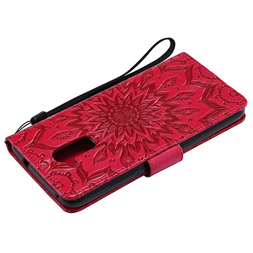 Für Huawei Hornor 5C Fall, Prägen Sonnenblume Magnetische Muster Premium Soft PU Leder Brieftasche Stand Case Cover mit Lanyard & Halter & Card Slots ( Color : Green ) Red