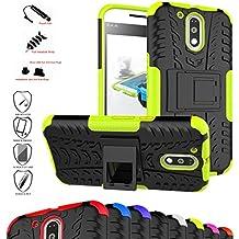 MOTO G4 / G4 Plus Funda,Mama Mouth Heavy Duty silicona híbrida con soporte Cáscara de Cubierta Protectora de Doble Capa Funda Caso para Motorola Moto G4 / G4 Plus G 4th Generation Smartphone,Verde