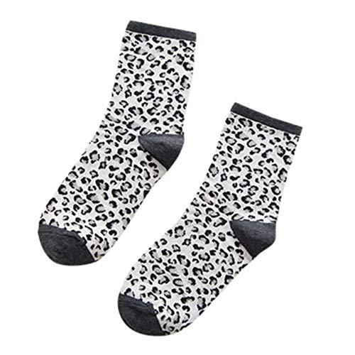 URIBAKY Socken mit Leopardenmuster,Winter warm lässig retro Baumwollsocken Damen Baumwolle Leopard in der Rohr Frauen Socken atmungsaktiv Socken