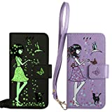BestCatgift für Samsung Galaxy S3/9300 Hülle [Luminous Woman Cat Design] PU Leather Flip Wallet Cover Protective Shell with [Wrist Strap] - Purple