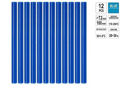 12 St. oder 10 St. Heißklebepatronen 7,2 x 200mm und 7,2 x 100mm, verschiedene Farben Klebesticks Heißkleber Klebepatronen, Color:12xBlau