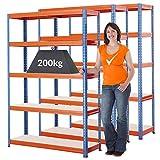 Mega Deal | Set aus 3x Schwerlastregaln (Tiefe 40 cm) | Fachlast 200 kg pro Fachboden | Metallregal Kellerregal Lagerregal Werkstattregal Garagenregal |Belastbar mit 1000 kg