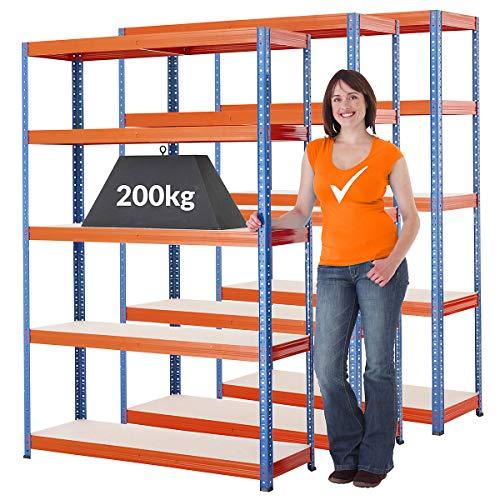 Lot de 3 rayonnages pour charges lourdes - profondeur 40 cm - super prix - H x L x P 178 x 120 x 40 cm - Etagères métalliques pour garage, cave ou entrepôt